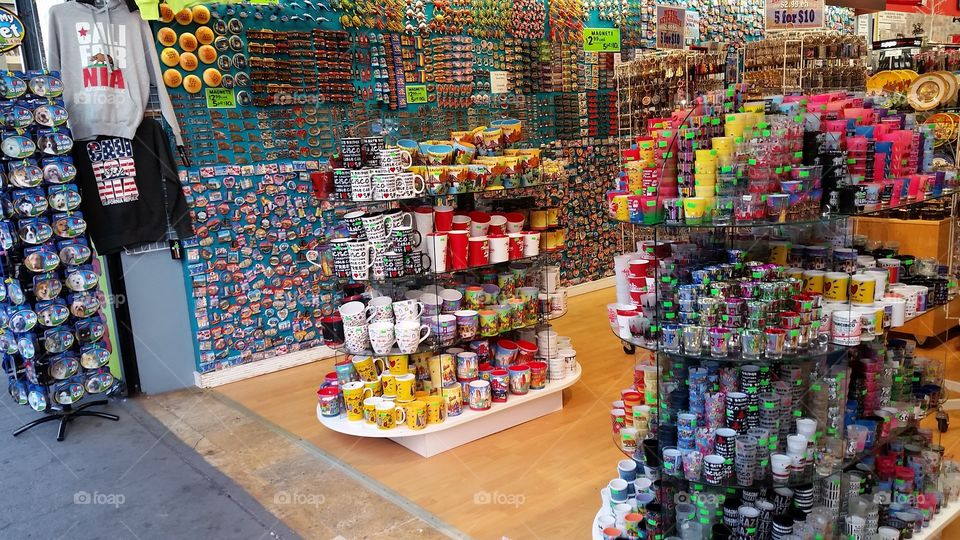 Colorful souvenirs in a store