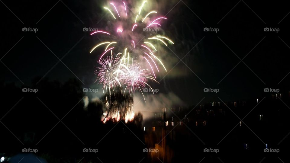 Fourth of July fireworks in Pasadena, California