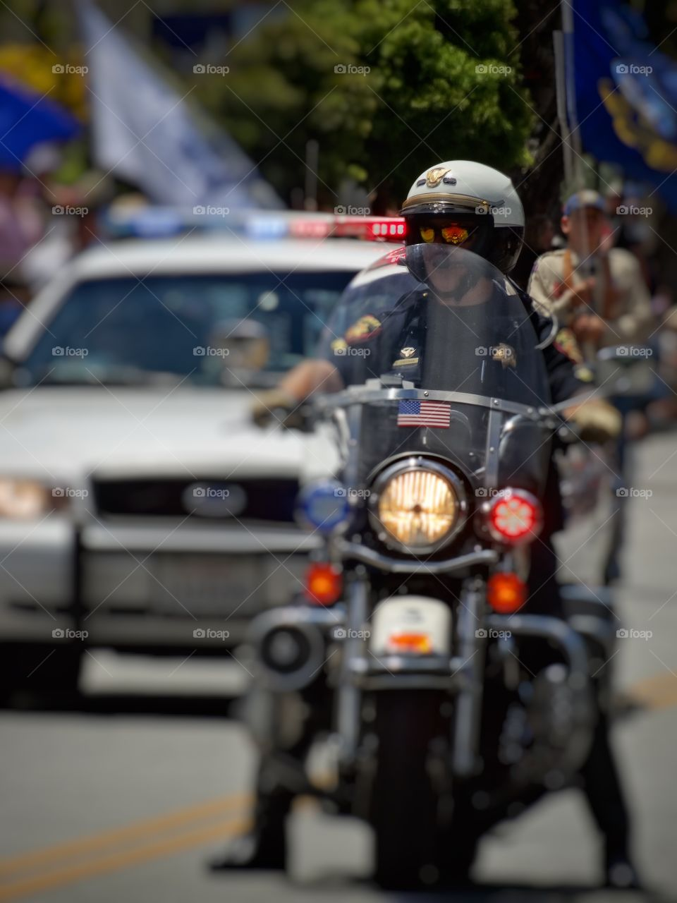 Motorcycle Police. American Police Officer On A Motorcycle