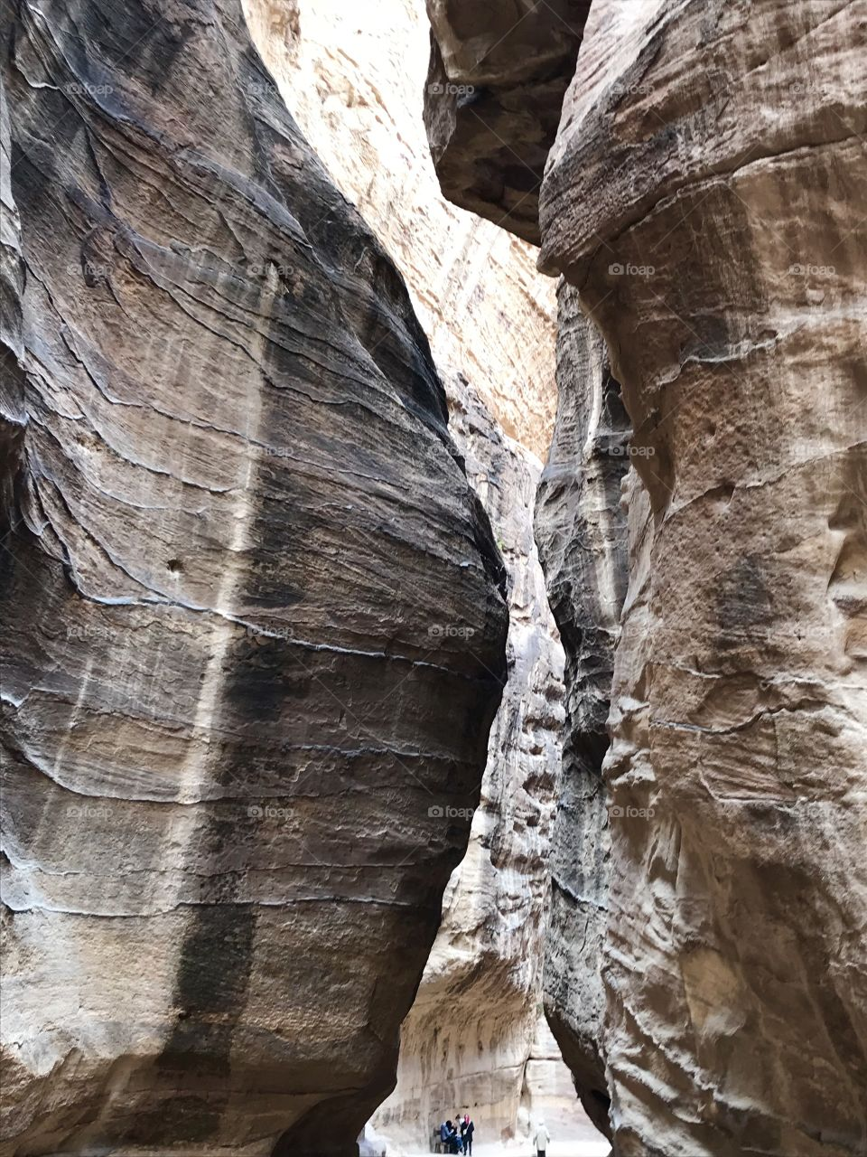 Narrow mountain pathway down to the great Treasury in Petra, Jordan, which was featured in the Indiana Jones movie The Last Crusade. Petra was the city of the ancient mysterious and brilliant Nabatean kingdom.