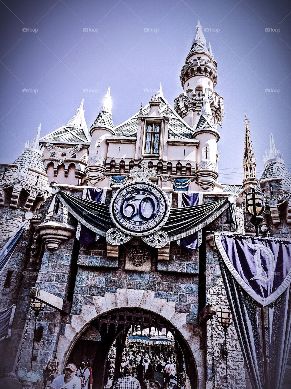 Disneyland's 60th Anniversary Celebration featuring their famous Sleeping Beauty Castle.