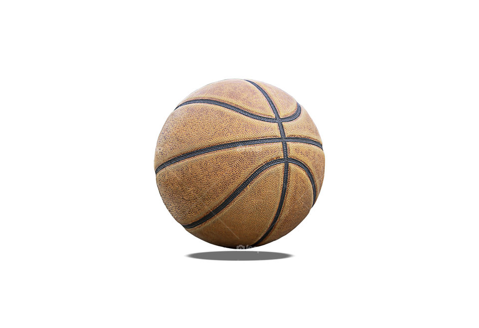 Basketball leather on a white background with clipping path.