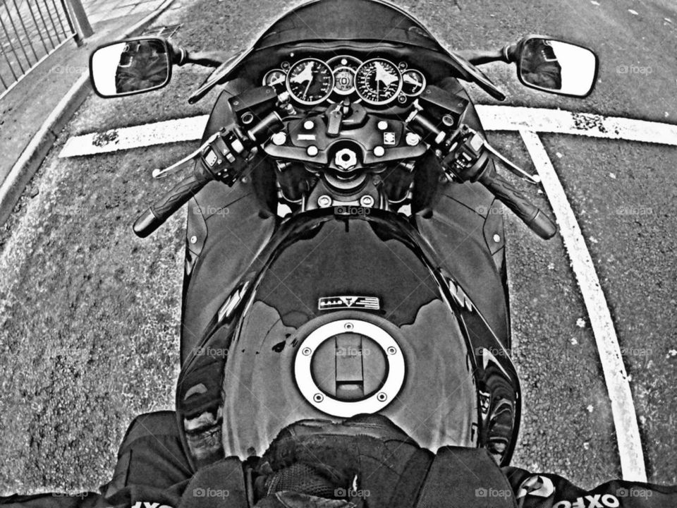 motorcycle at traffic lights