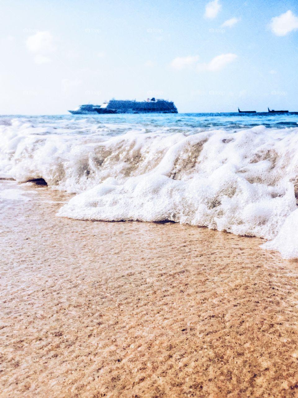Sand, Beach, Seashore, Sea, Water