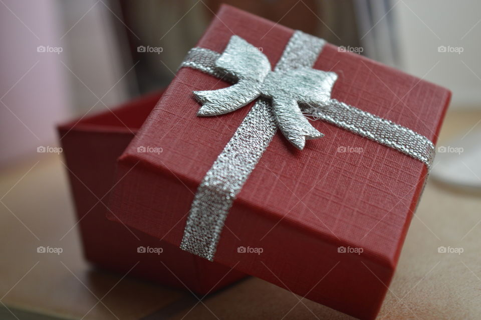 Close-up of a red gift box