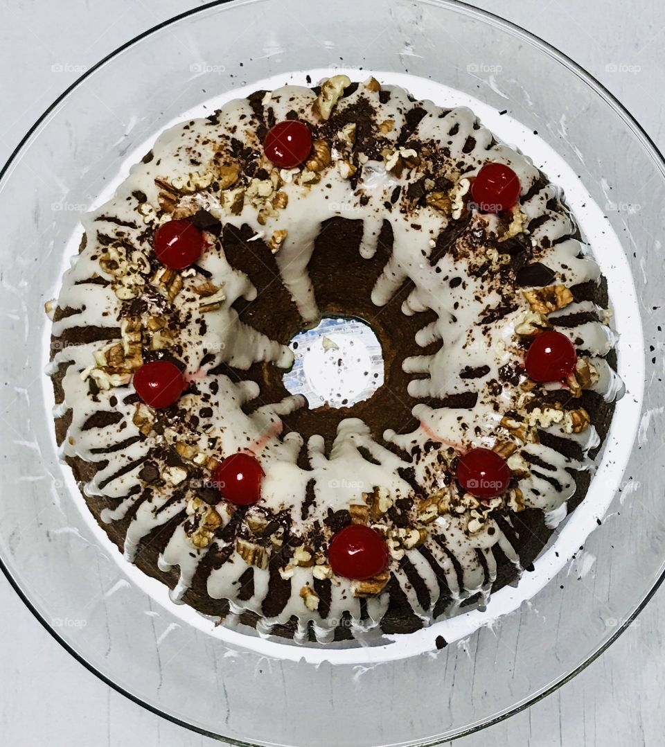 Bundt cake with nuts and cherries