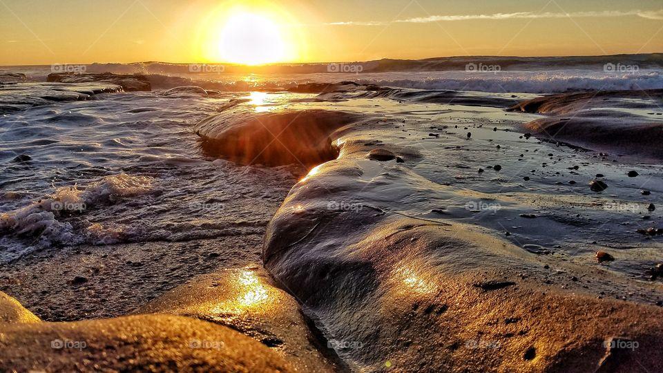 Sun setting over San Diego