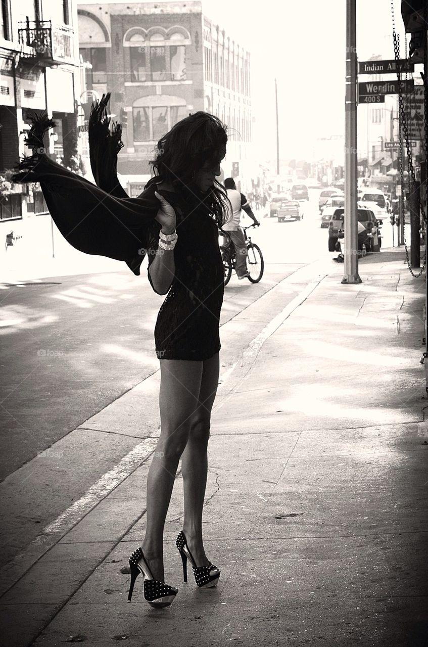 Black wings in the street of LA