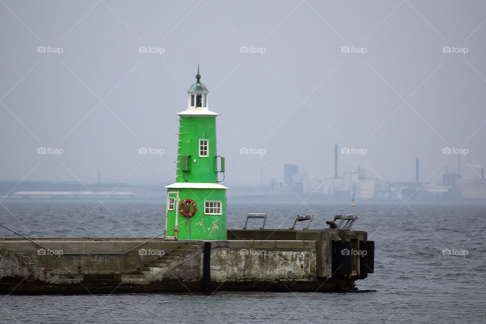 Green lighthouse. Elsinore green lighthouse
