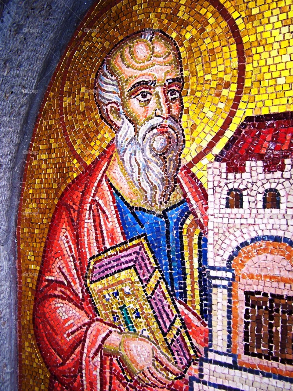 Mosaic of Saint John in a Grotto on the Isle of Patmos in Greece