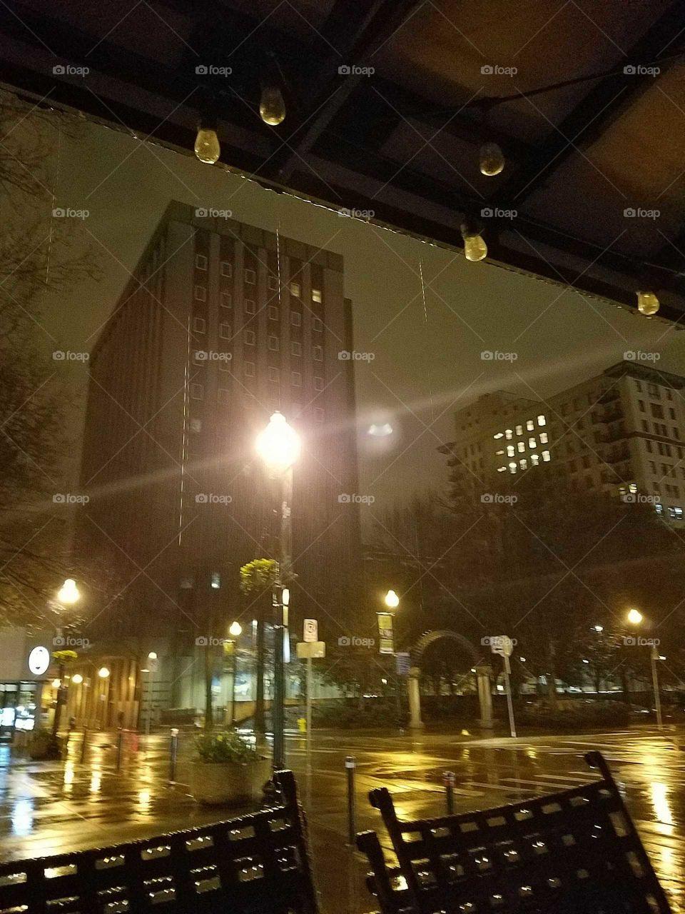 Rainy morning downtown