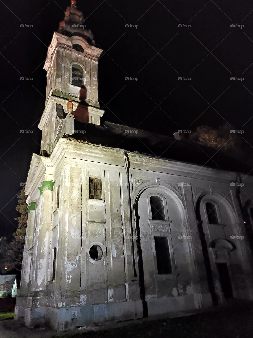 Vrbas Serbia Protestant Church in town centre by night