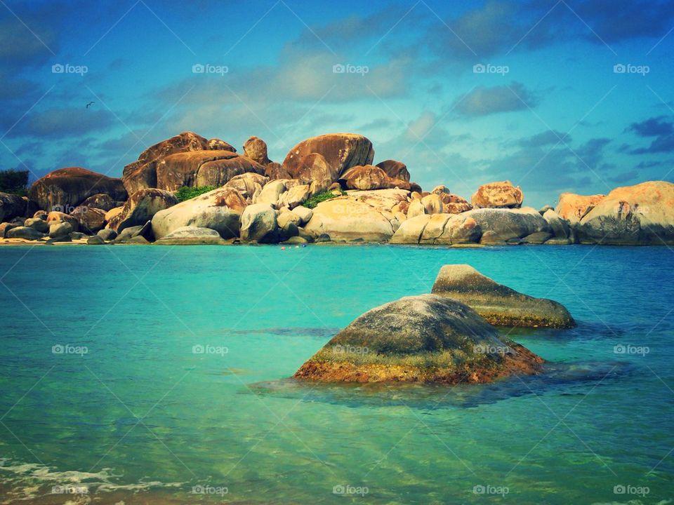 View of caribbean sea at devils bay