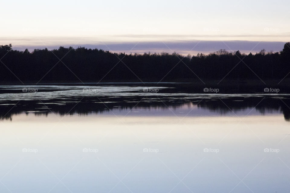 Forest reflections in lake -sunset