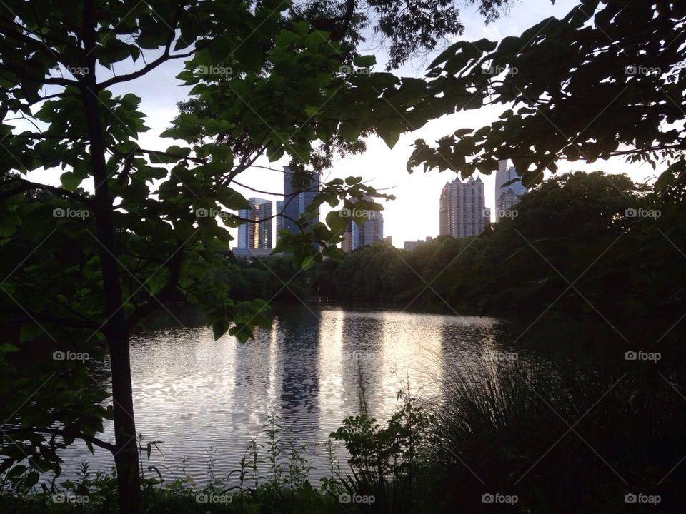 Lake at Piedmont Park in Midtown Atlanta Georgia