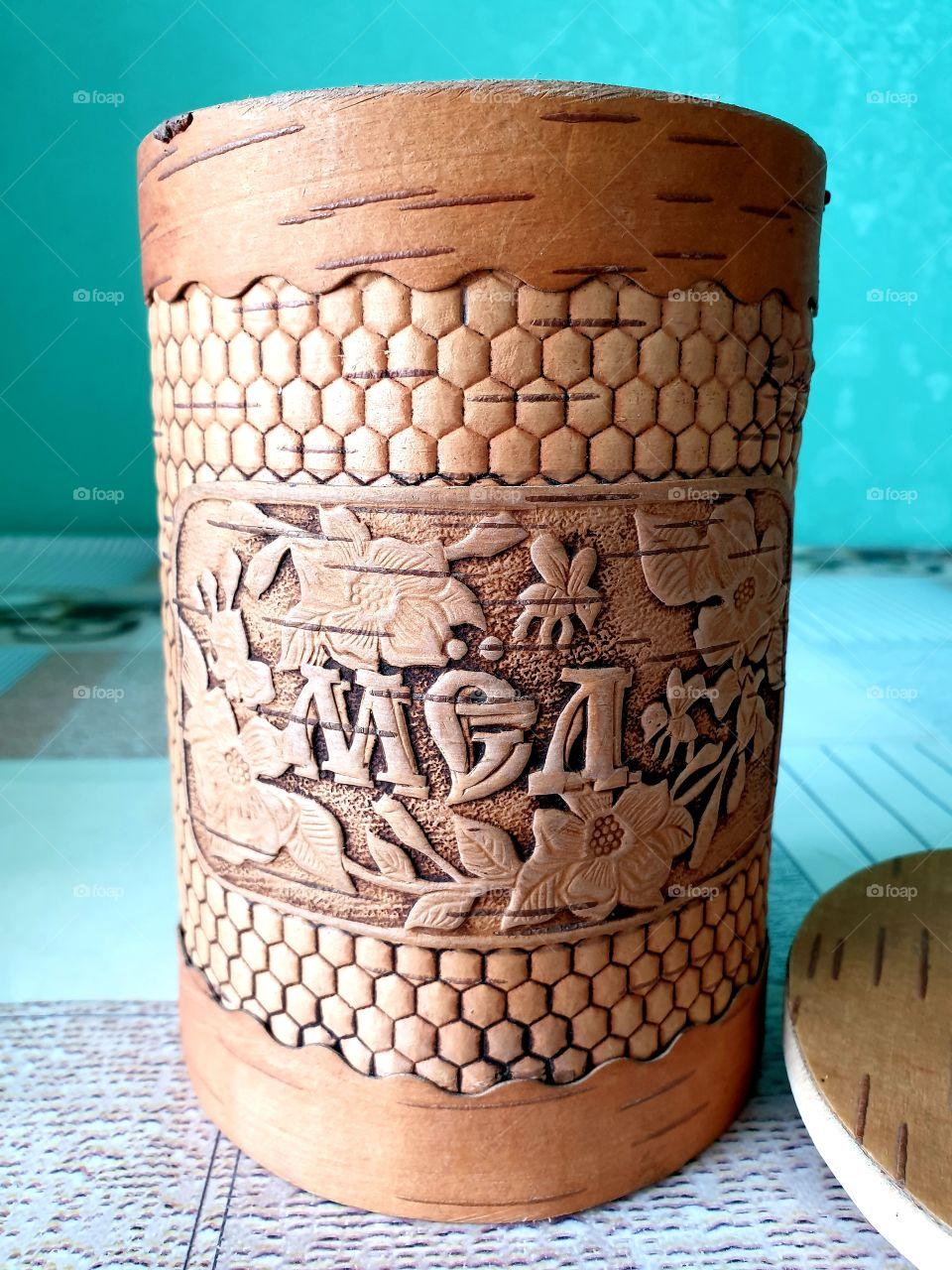 мёд цветочный , Алтайский , в подарочной банке из бересты