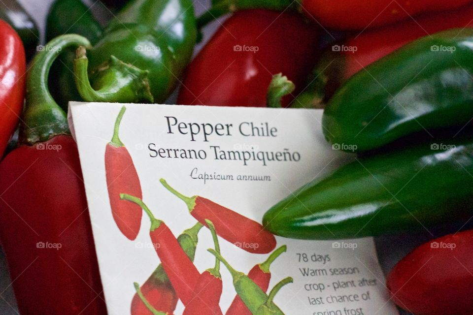 Red and green Serrano chile peppers and their seed packet