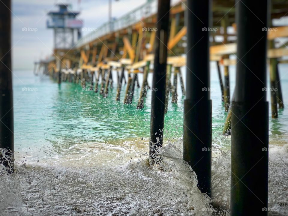 Stunning Pier Picture with Whitewater Waves. Excellent Canvas and Metal Art, Screensavers Art, Desktop Art or Framing!