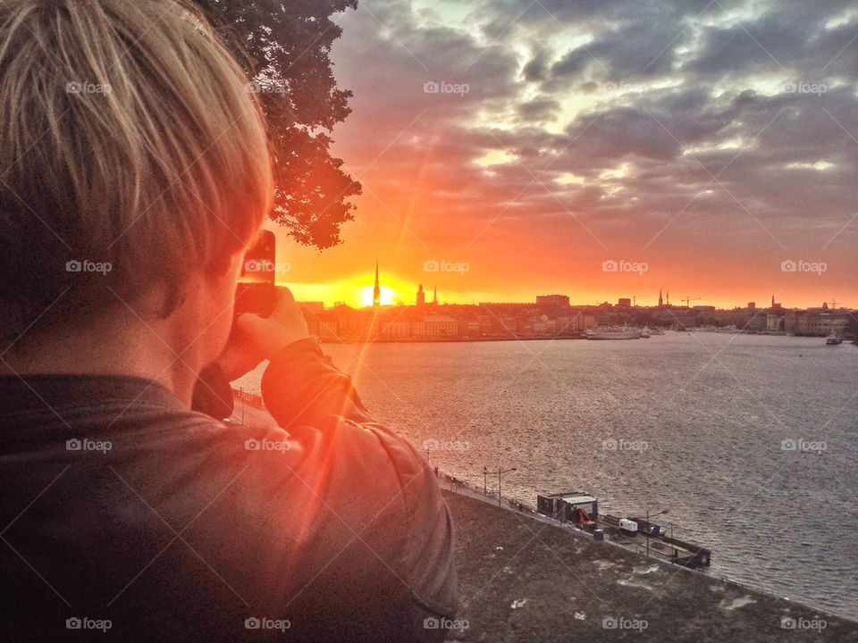 Taking a photo of Stockholm