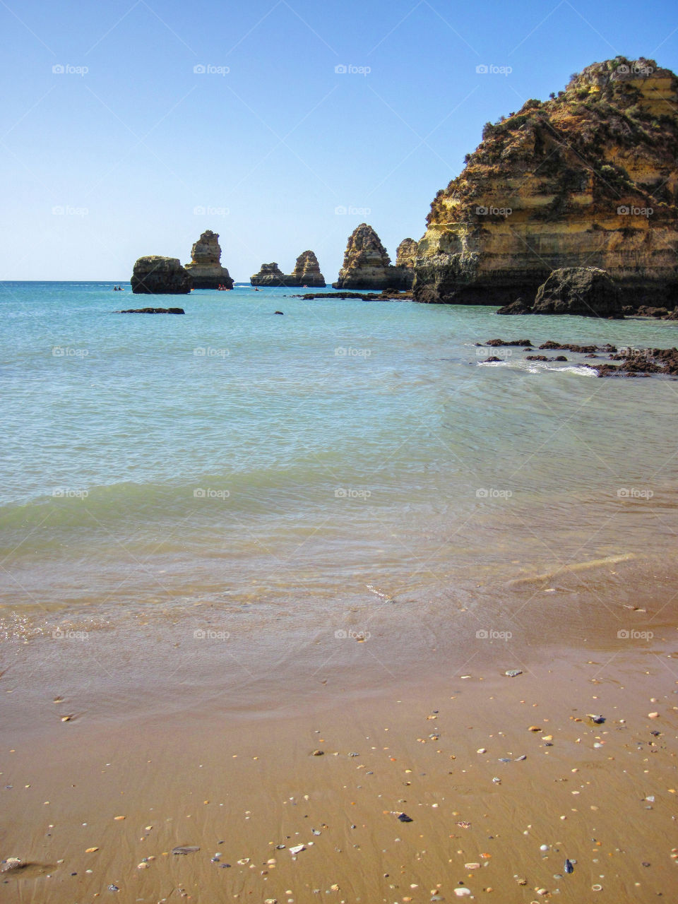 Scenic view of beach and cliff, Portugal, Algarve