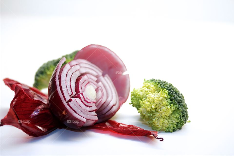 Red onion and broccoli