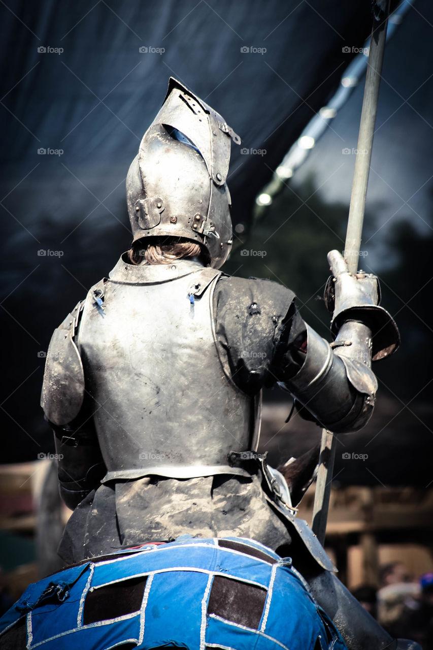 Knight in shining armor ready for battle