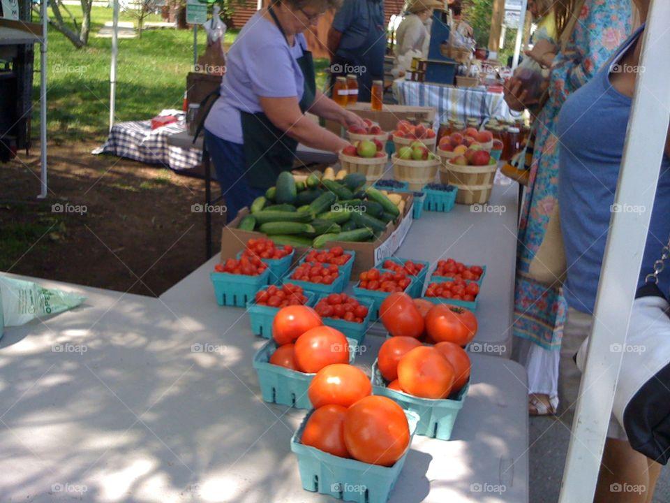 Fresh crops at a farmer's market in Charlton, MA