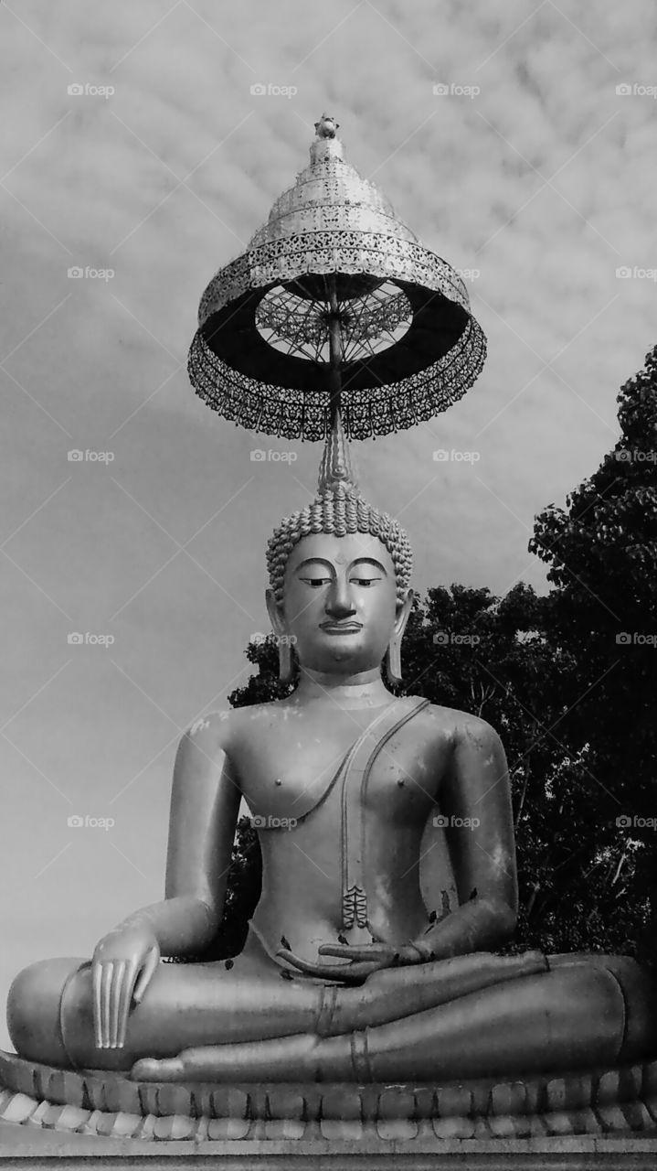Black and white Buddha statue in Thailand