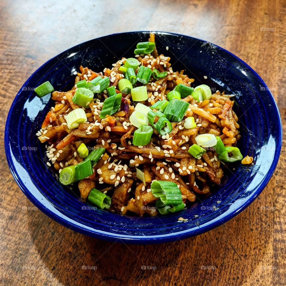 A lunch inspired by Asian cuisine. Just a little spicy and topped with green onions and sesame seeds.
